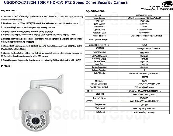 Amazon.com : USG HD-CVI PTZ Speed Dome Security Camera 1080P 2MP 4.7-84.6mm Motorized Zoom + Auto-Focus Lens: HD 1920x1080, 500 Feet Night Vision, IR-Cut, ...