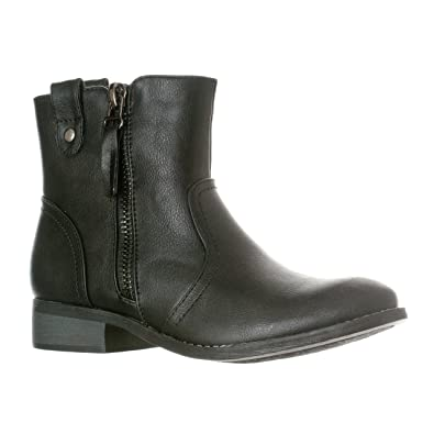 214e4e6577fca Riverberry Women's Hailey Western Style Low Heel Zip-Up Ankle Bootie Boots,  Black,