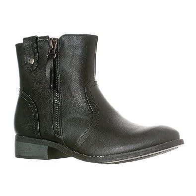 Women's Hailey Western Style Low Heel Zip-Up Ankle Bootie Boots