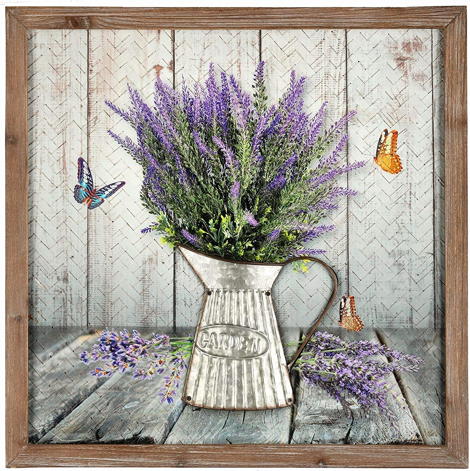 Amazon Com Regency International Lavender Art Print Painting On Woven Bamboo Canvas Wooden Frame 19 5 X 19 5 Inch Posters Prints