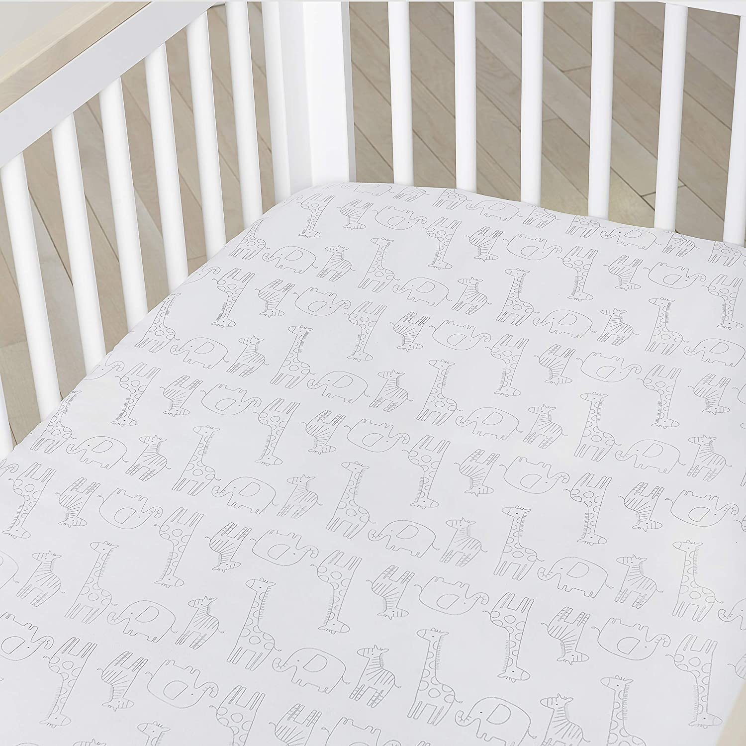 Grey//Silver Star One Size Just Born Boys and Girls Newborn Infant Baby Toddler Nursery 100/% Cotton Fitted Bedding Crib Sheet