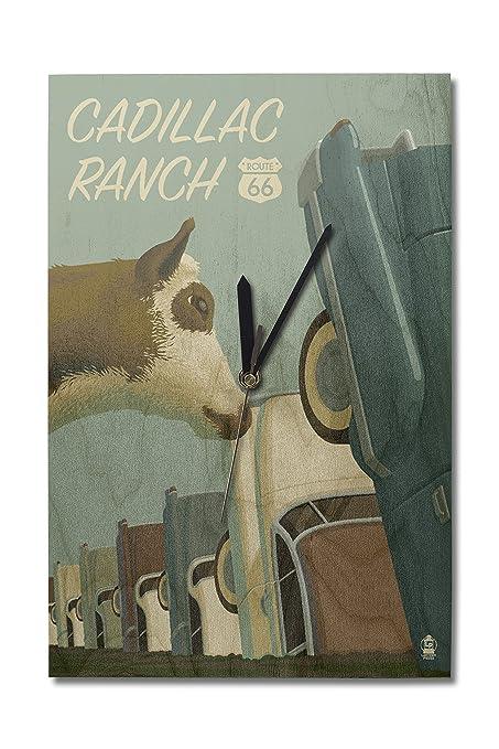 Amazon Com Cadillac Ranch Texas Route 66 10x15 Wood Wall Clock