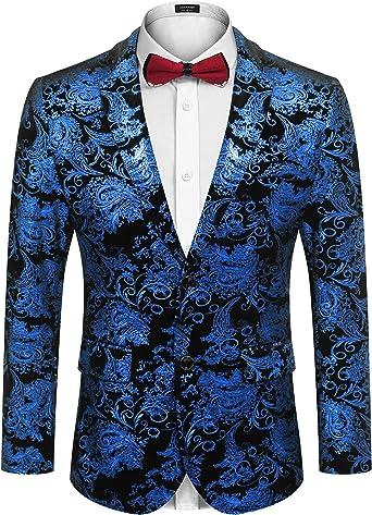 COOFANDY Men Luxury Paisley Floral Suit Jacket Blazer Wedding Prom Party Tuxedo