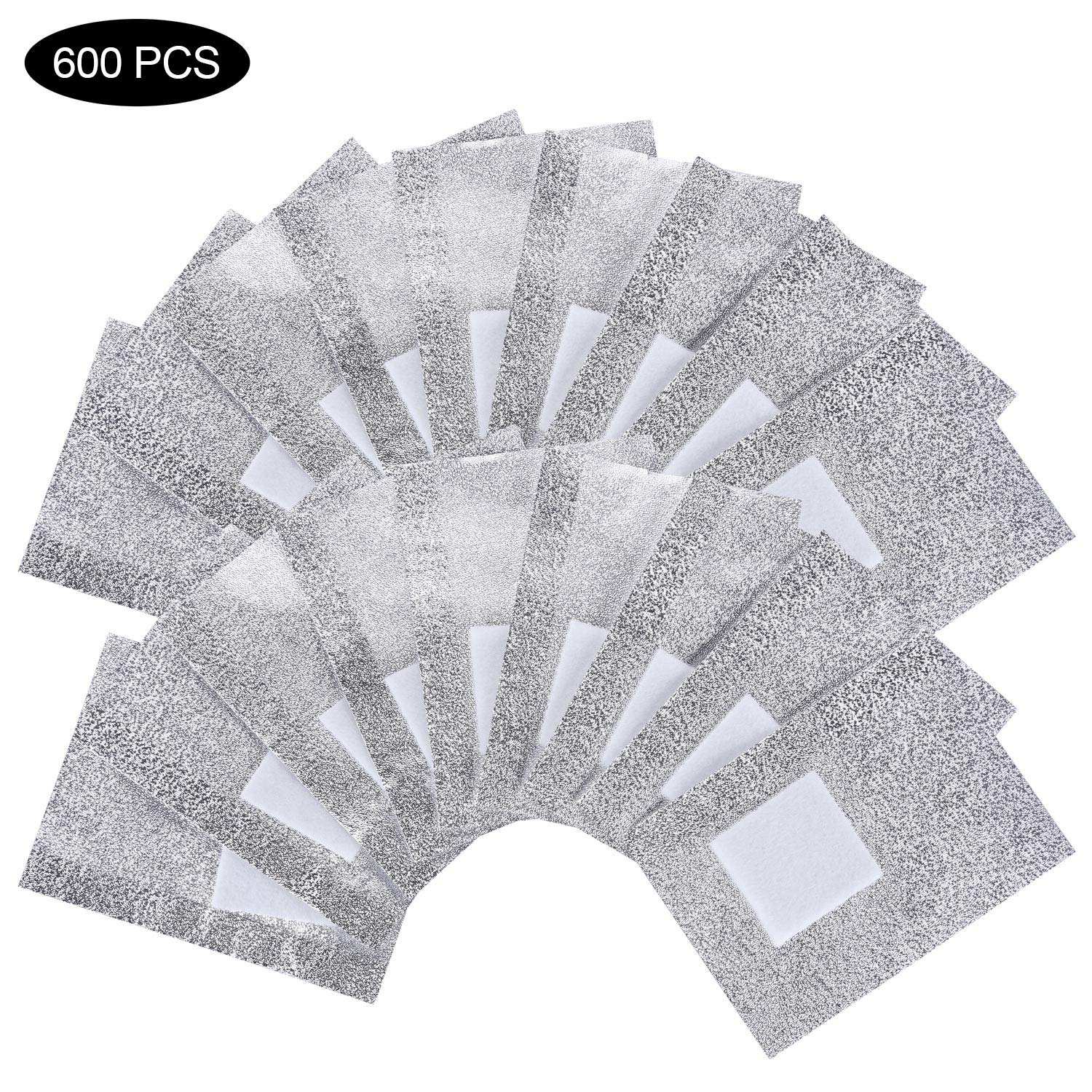 Nail Polish Foil Wraps Soak Off Gel Nail Polish Remover With Lager Cotton Pad pack of 6 (600 Pieces) by Beauty Max