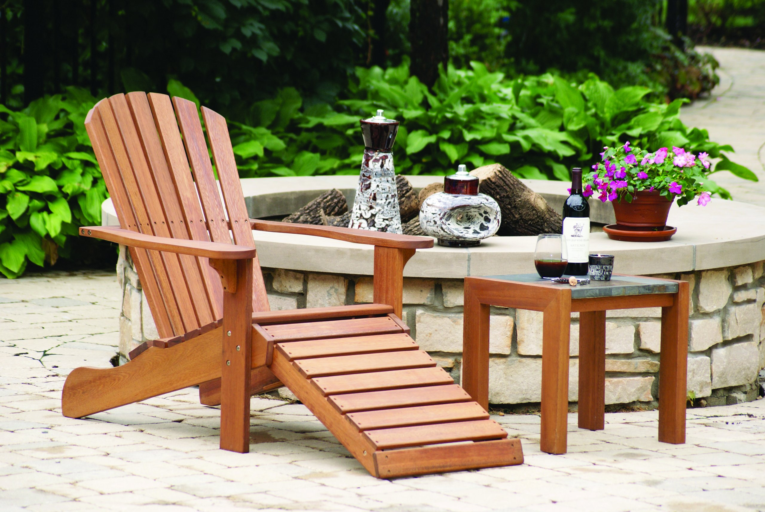 Outdoor Interiors CD3111 Eucalyptus Adirondack Chair and Built In Ottoman by Outdoor Interiors (Image #7)