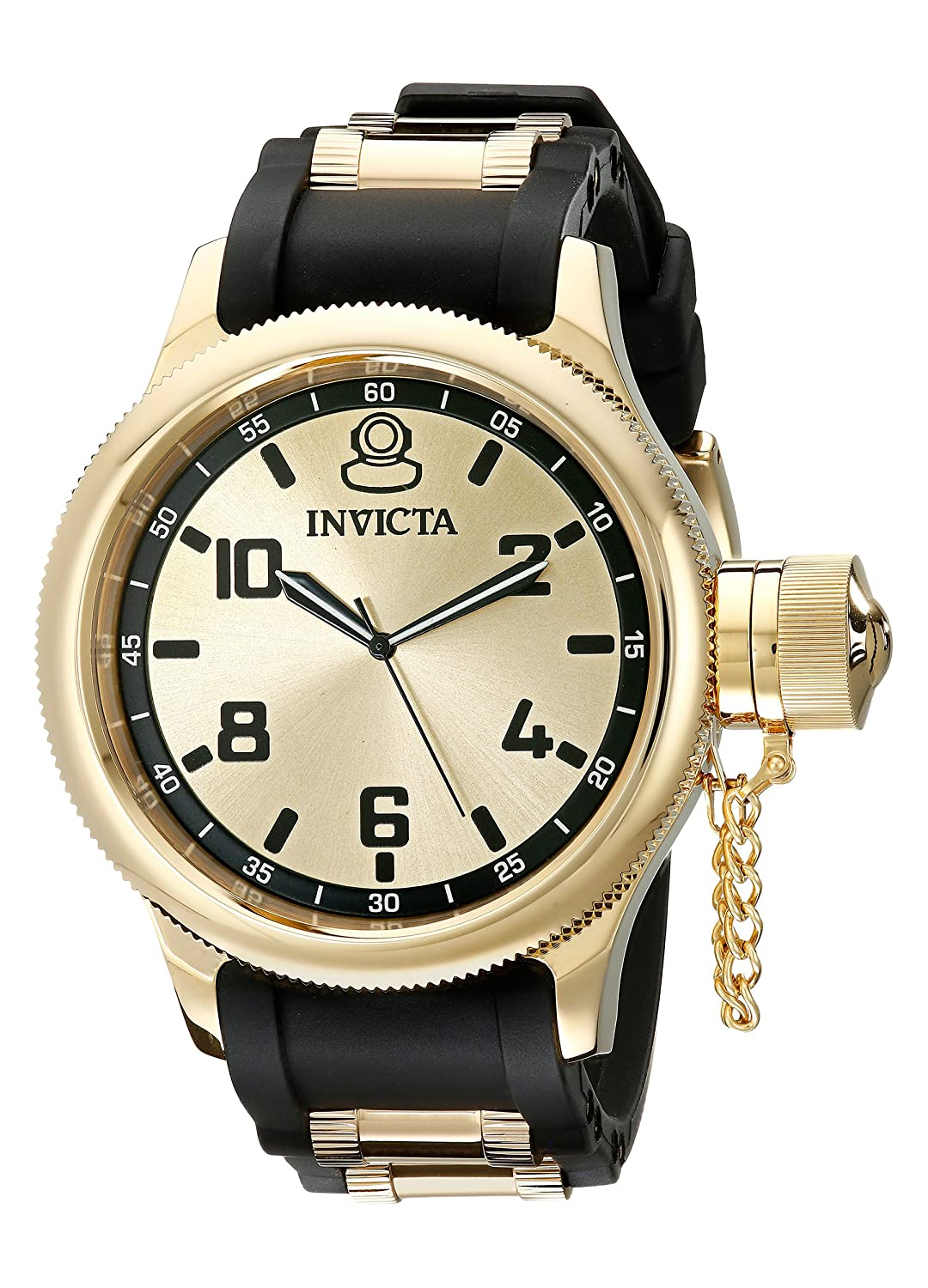 Invicta Men s 1438 Russian Diver Gold Stainless Steel Watch with Polyurethane Band