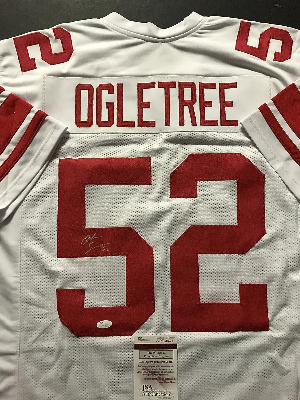 Autographed/Signed Alec Ogletree New York White Football Jersey JSA COA