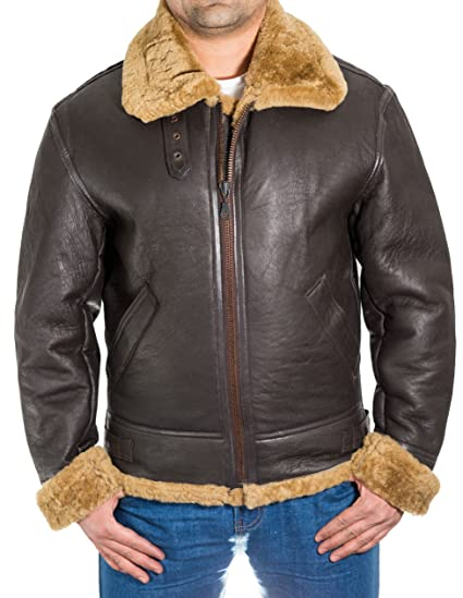 9c9357d373b Mens Brown Aviator B3 Real Sheepskin Pilot WW2 Flying Jacket with Ginger   Amazon.co.uk  Clothing