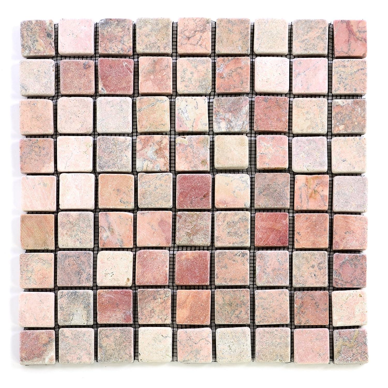 Divero 11 Fliesenmatten Naturstein Mosaikfliesen aus Marmor f/ür Wand und Boden Creme-rosa /á 29 x 29 cm