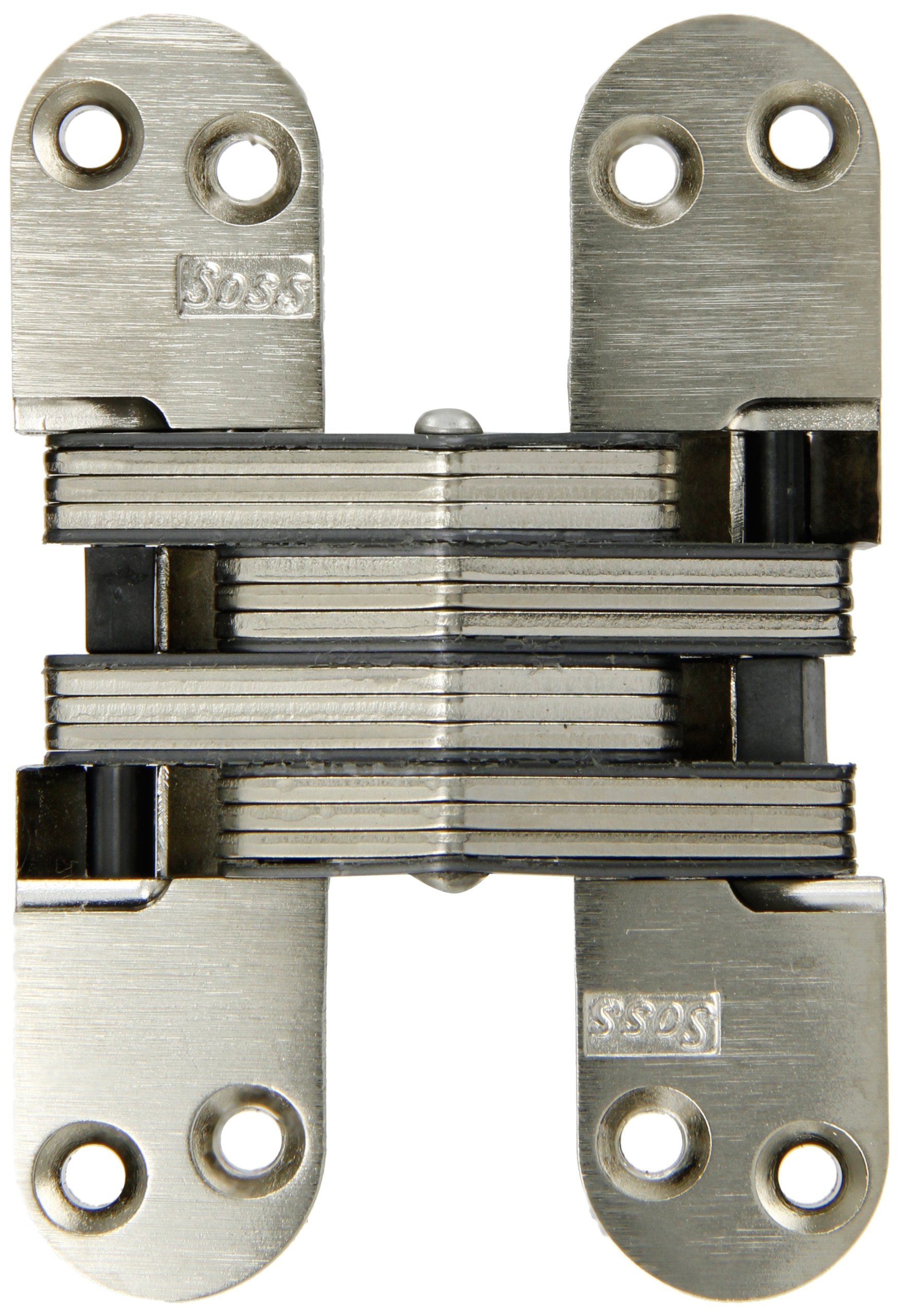 SOSS Mortise Mount Invisible Hinge with 8 Holes, Zinc, Satin Nickel Finish, 4-5/8'' Leaf Height, 1-1/8'' Leaf Width, 1-41/64'' Leaf Thickness, 10 x 1-1/2'' Screw Size