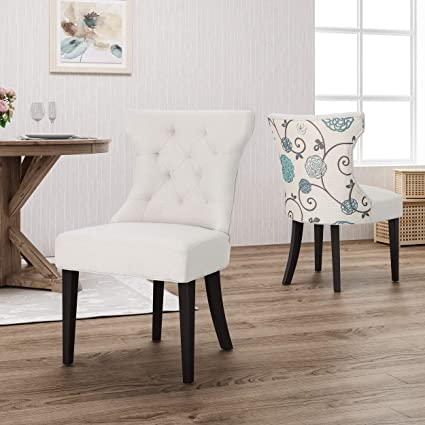 Christopher Knight Home 305674 Patty Traditional Two Toned Fabric Dining  Chair, Ivory and White/Blue Floral,