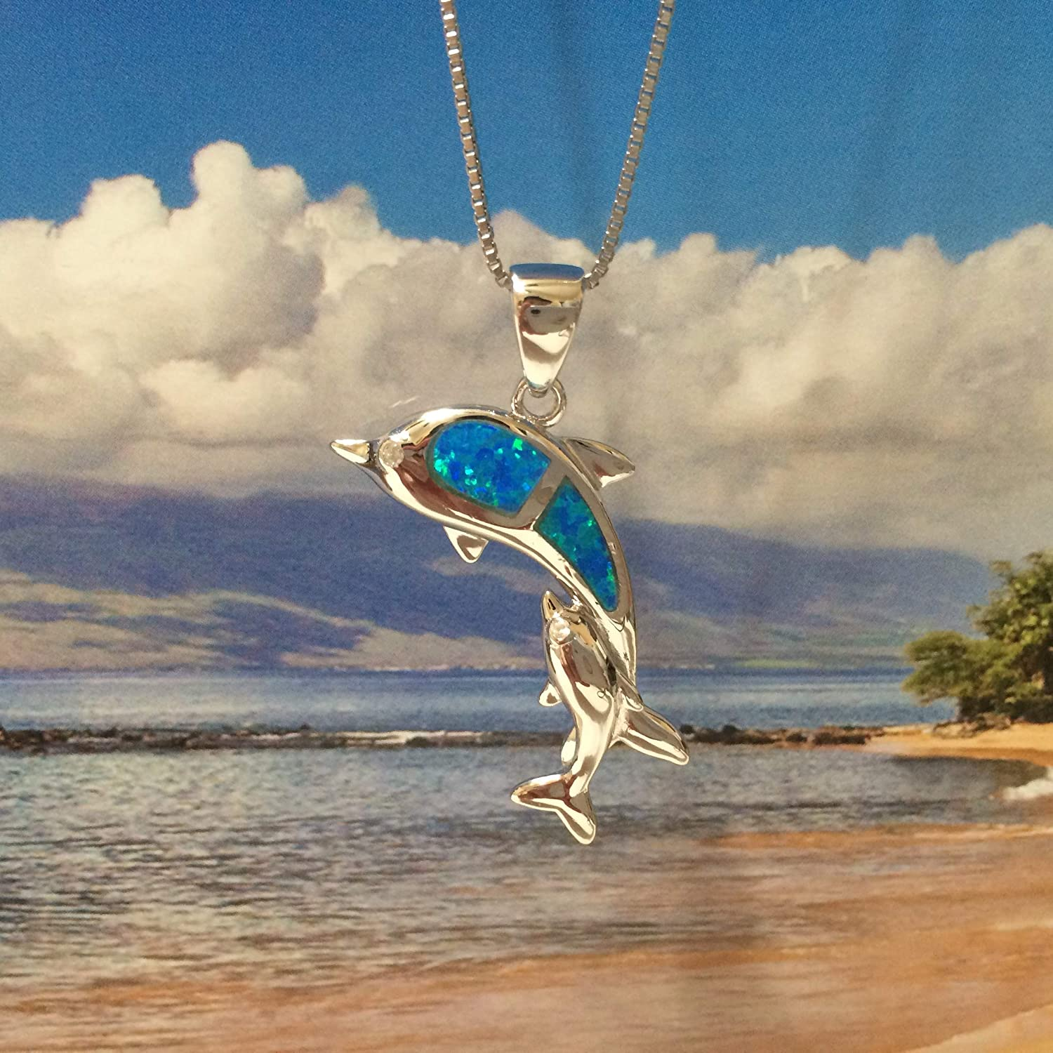 Sterling Silver Hawaiian Dolphin Pendant Necklace with Synthetic Blue Opal with 18 Silver Chain A6150