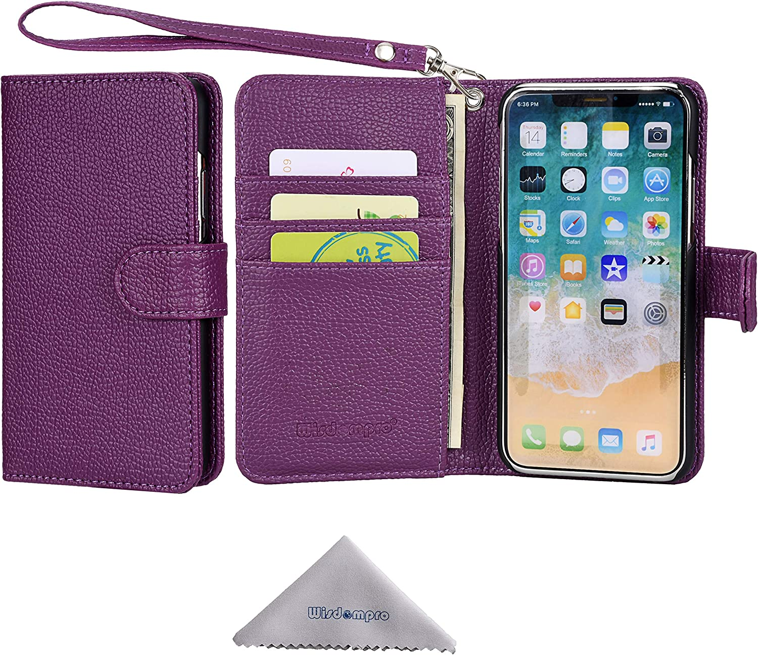 Black 5 iPhone 5s Case 5s iPhone SE Case Wisdompro Premium PU Leather 2-in-1 Protective Wallet Phone Case Folio Flip Cover with Kickstand and Credit Card Holder Slots for Apple iPhone SE