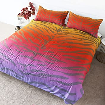 BlessLiving Rainbow Leopard Bedding Cheetah Cat Animal Print Bed Set 3  Pieces Neon Purple Red and Yellow Duvet Cover (Queen)