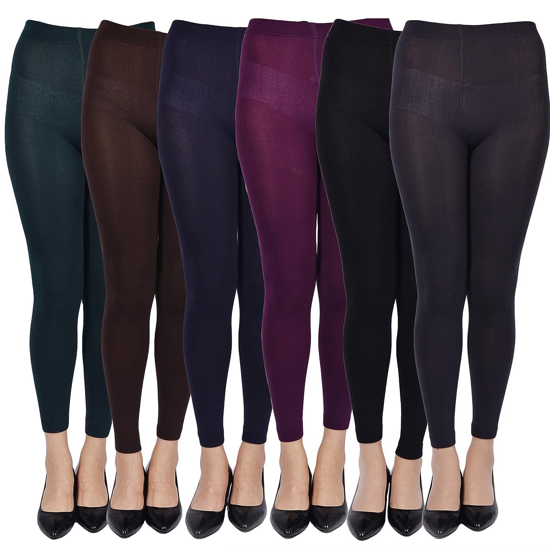 6 Pack Leggings for Women Ankle Length Seamless Fleece Lined Stretch Leggings