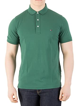 Tommy Hilfiger Hombre Polo Tommy Slim Fit, Verde, Large: Amazon.es ...