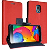 DMG Synthetic Leather Slim Wallet Flip Cover Case with Card Slots and Magnet Closure For Samsung Galaxy S5 ( Red )