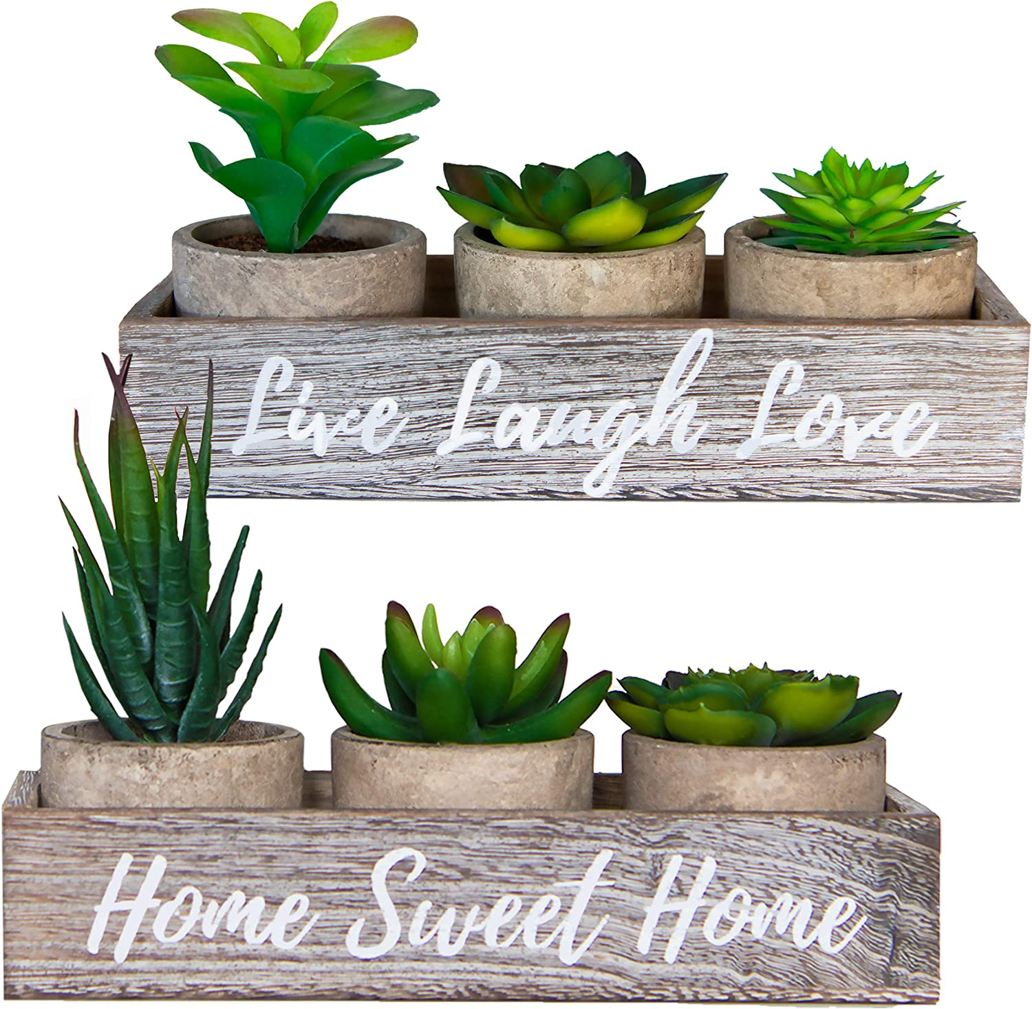 6 Artificial Succulent Plants In Pots And 2 Rustic Wooden Box Planters – Home Sweet Home & Live Laugh Love | Realistic Greenery Mini Faux Plant Arrangements For Home Decor Office Table Bathroom Dorm