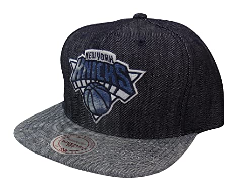 fd562b06d8344 Image Unavailable. Image not available for. Color: Mitchell & Ness NBA New  York Knicks Blue Linen Snapback Hat