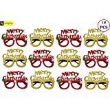 Zest 4 Toyz Merry Christmas Alphabet Eye Glasses Christmas Prop Party Goggles Pack of 12 -Assorted Design