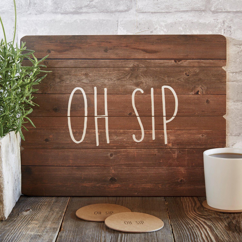 Happens SB Design Studio B4410 Sips Drinkware Tray//Wooden Sign 12 x 15