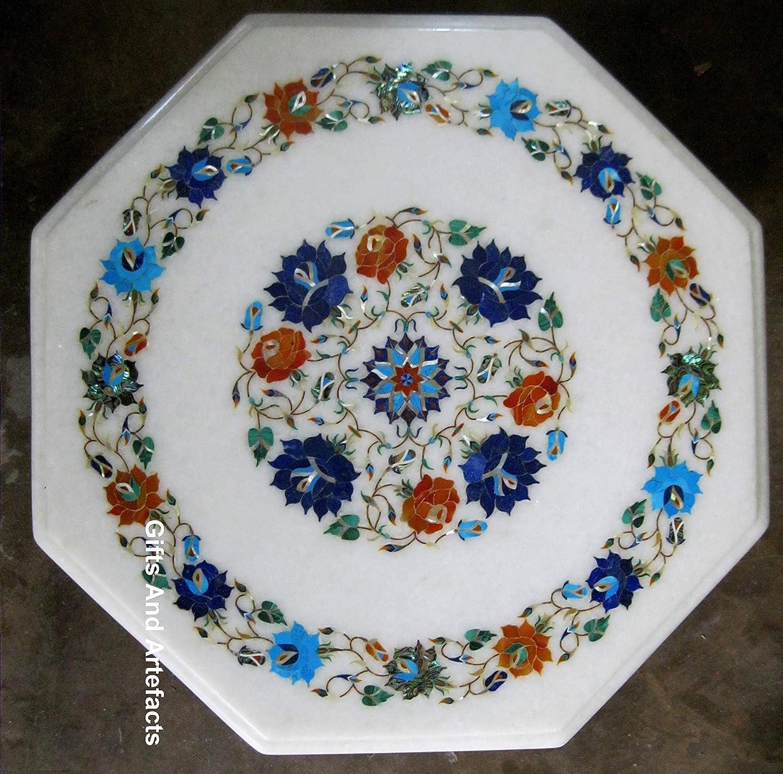 Gifts And Artefacts - Mesa de café de mármol Blanco Octogonal con Piedras Preciosas incrustadas, Mesa Auxiliar para Patio o jardín, 16 Pulgadas