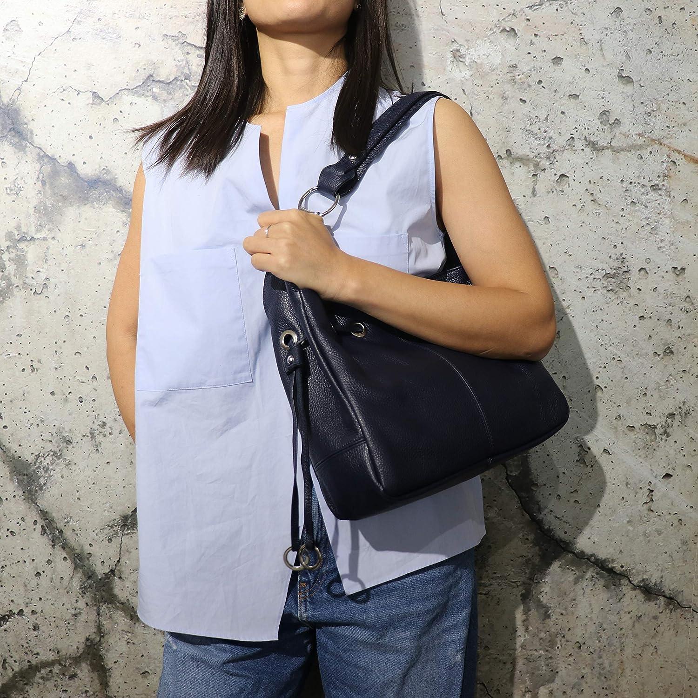 SH läder axelväska i äkta läder handväska vanärvat läder 31 x 25 cm Anna G488 Ljus ros