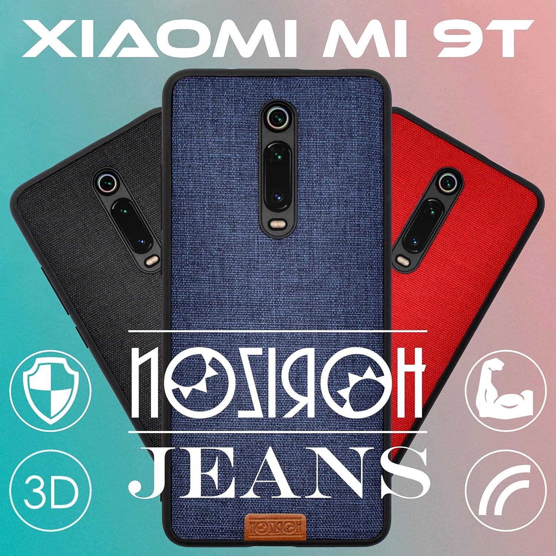 Noziroh Jeans Originale Cover Custodia Spessa Tessuto Denim 3D Xiaomi Mi A3 Blu