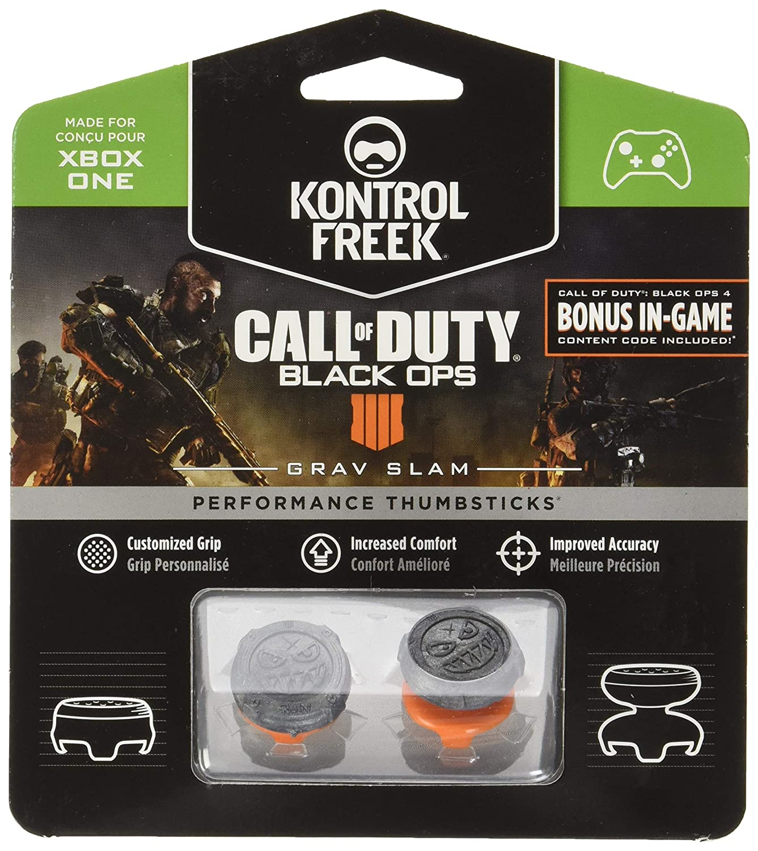 KontrolFreek Call of Duty: Black Ops 4 Grav Slam for Xbox One Controller | Performance Thumbsticks | 1 High-Rise Convex, 1 Mid-Rise Convex | Gray/Orange