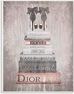 The Stupell Home Decor Collection Book Stack Heels Metallic Pink Wall Plaque Art, Multicolor