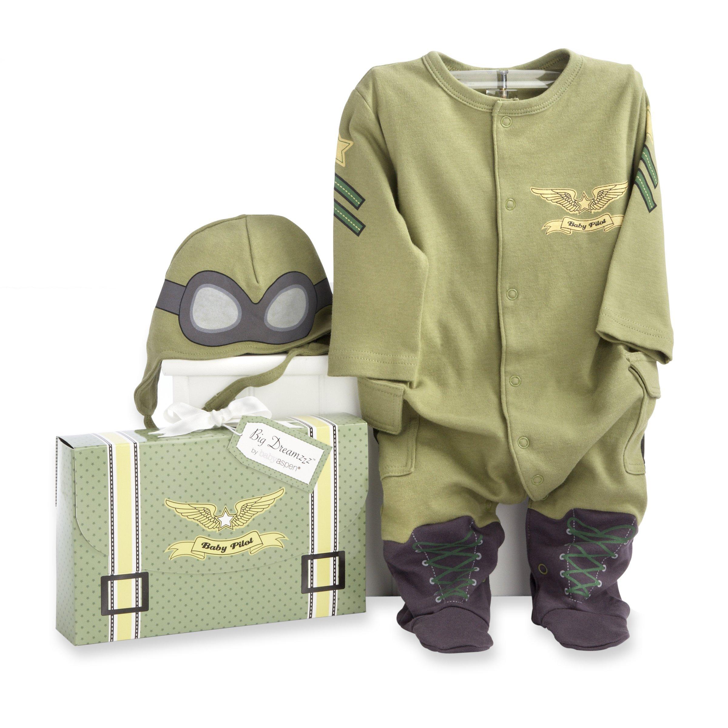Baby Aspen, Big Dreamzzz Baby Pilot Two-Piece Layette Set, Baby Onesie, Newborn Halloween Costume, Green, 0-6 Months by Baby Aspen