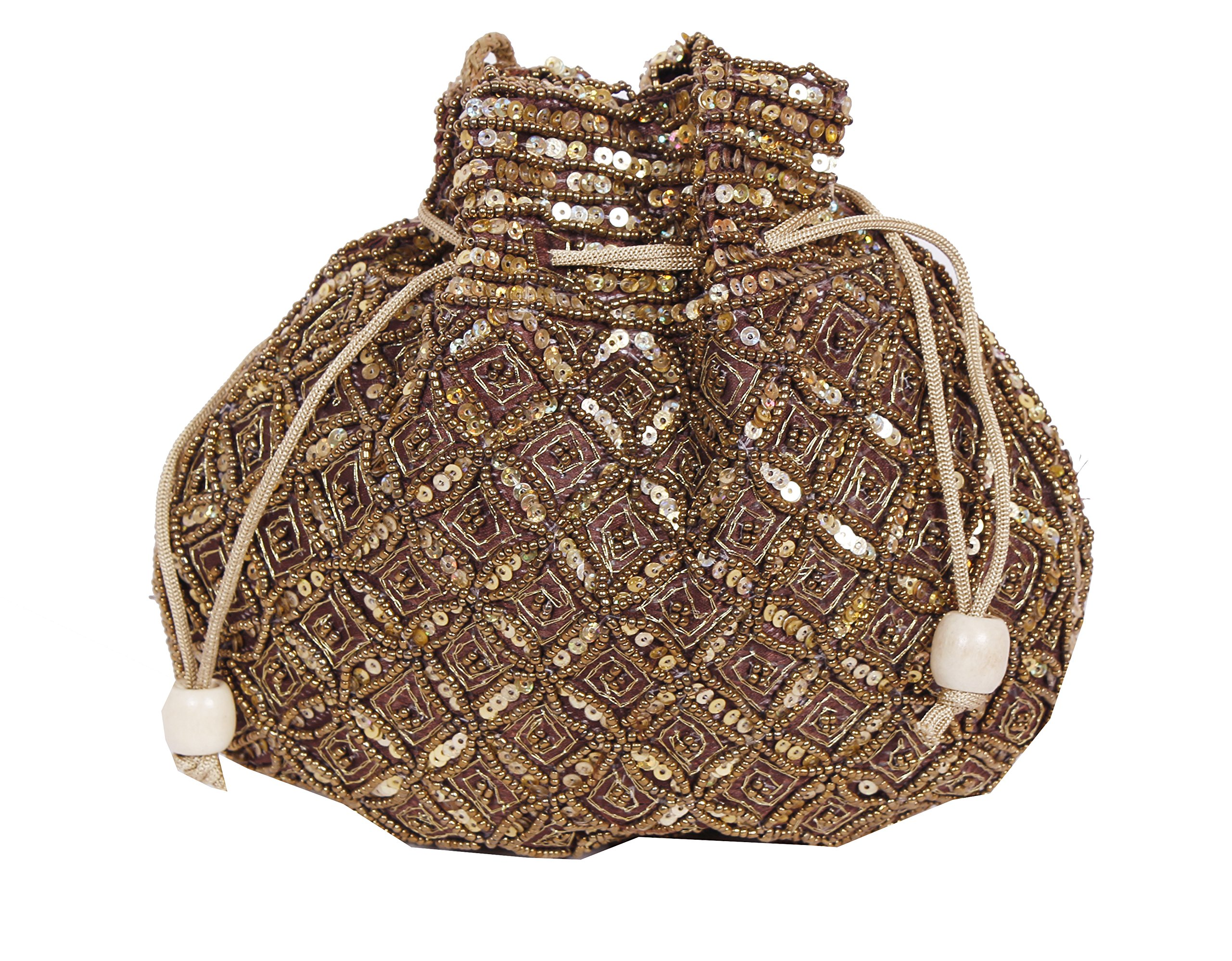 Indian sequence Potli Bag/ wedding purse/jewelery purse for girls & women (Base Color- Dark Brown)