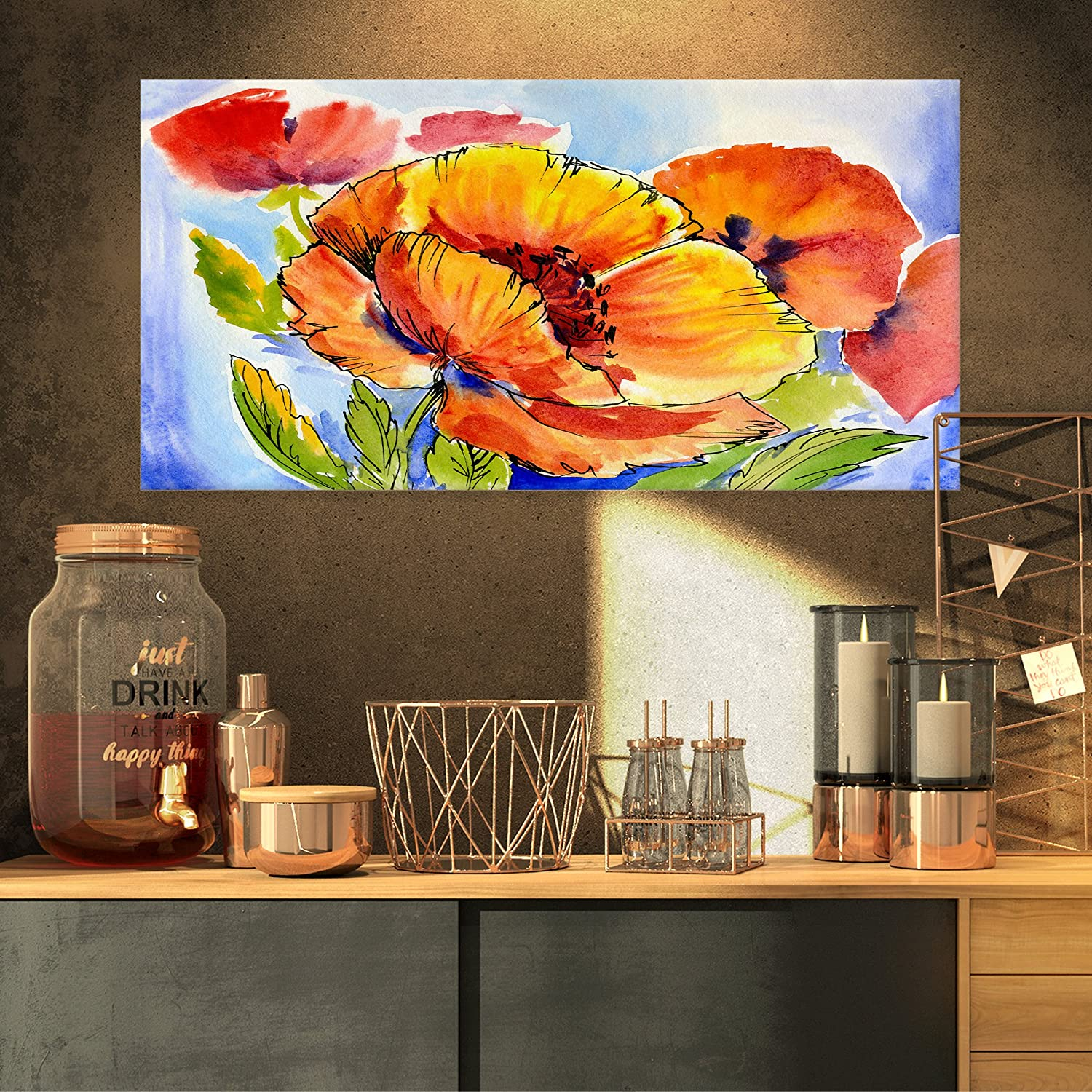 Bouquet of Full Blown Poppies Floral on Canvas Art Wall Photgraphy Artwork Print Designart PT6243-32-16