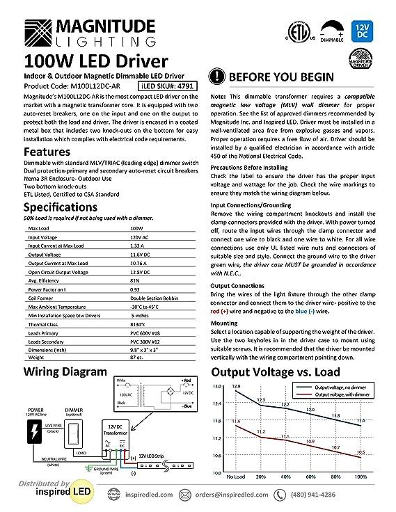 12V Magnitude Magnetic Dimmable LED Driver Transformer Hardwired ...