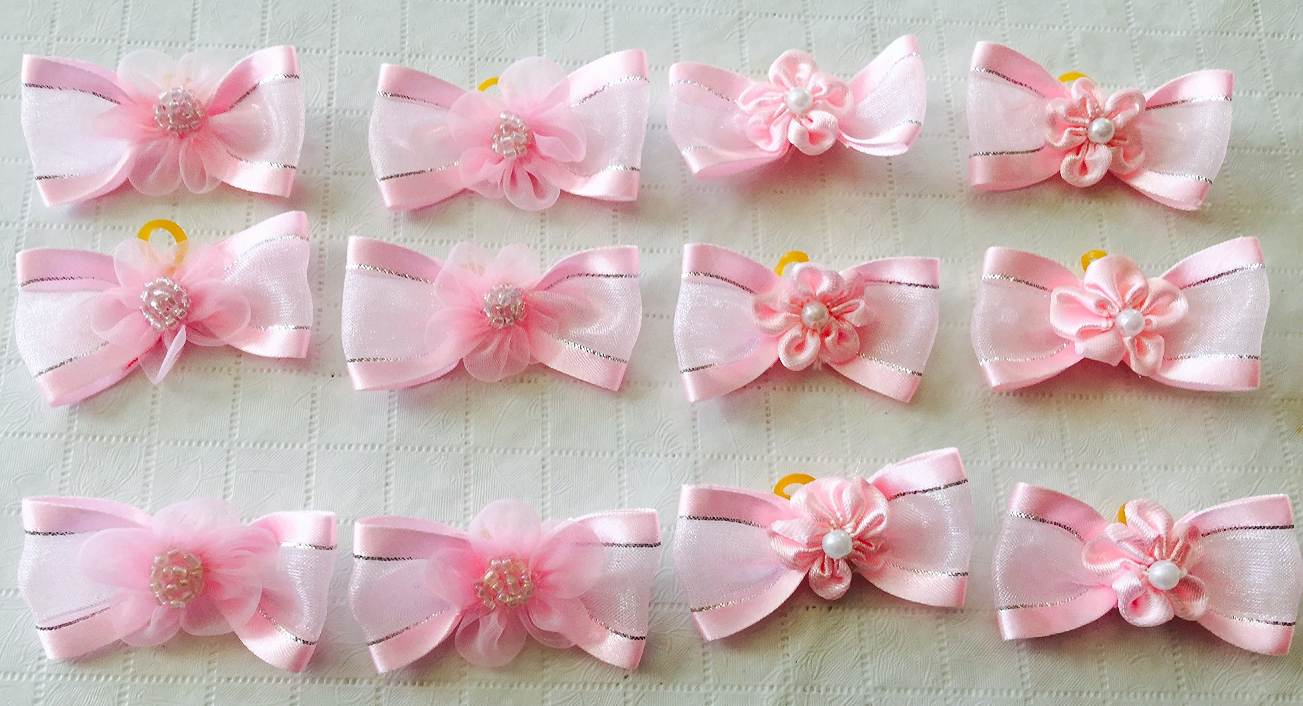 Pack of 30 Dog Hair Bows - Pink Butterfly Bows with cute flower and Bead