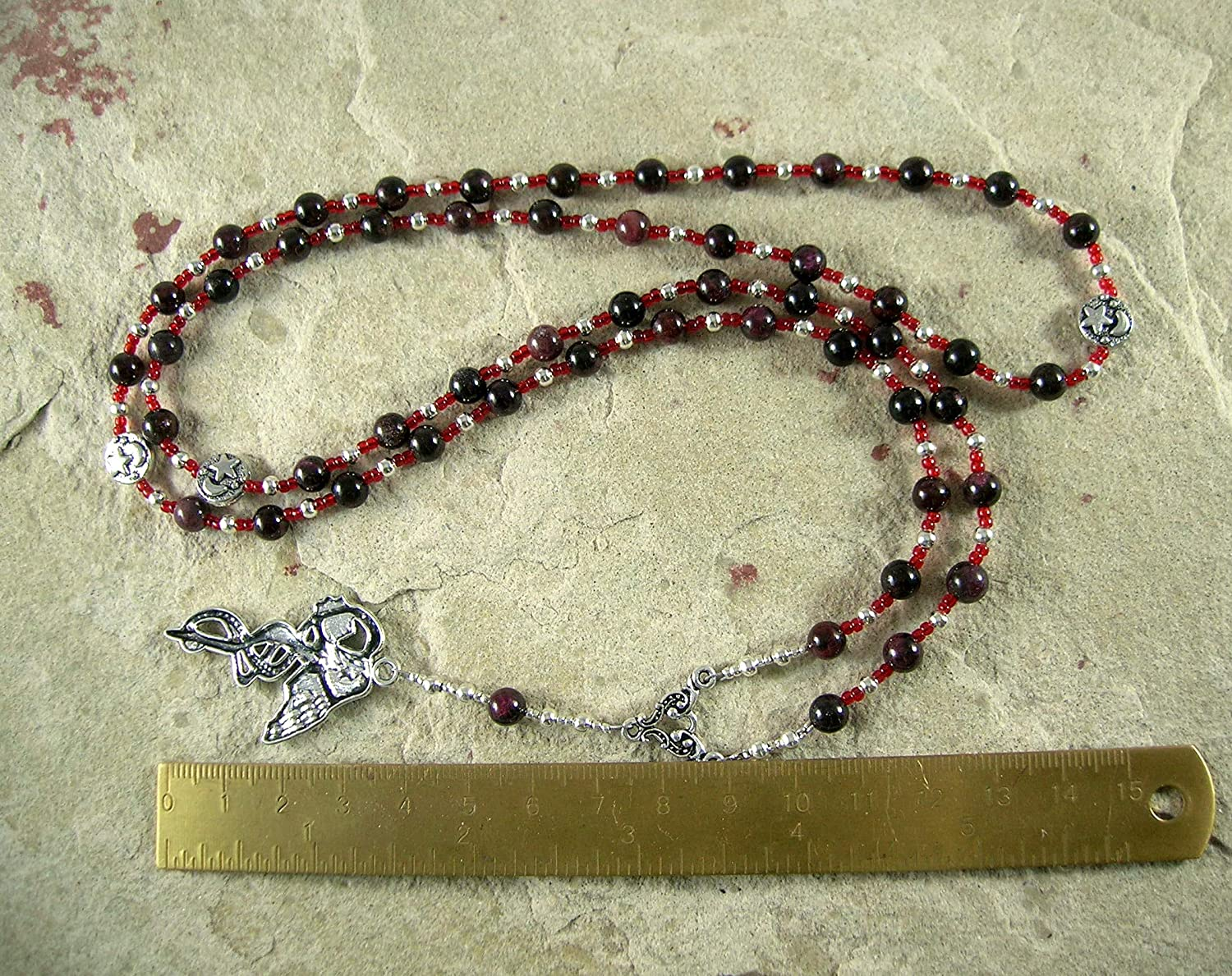 Lilith Prayer Bead Necklace in Garnet Sumerian//Babylonian Goddess of Fertility and Free Will