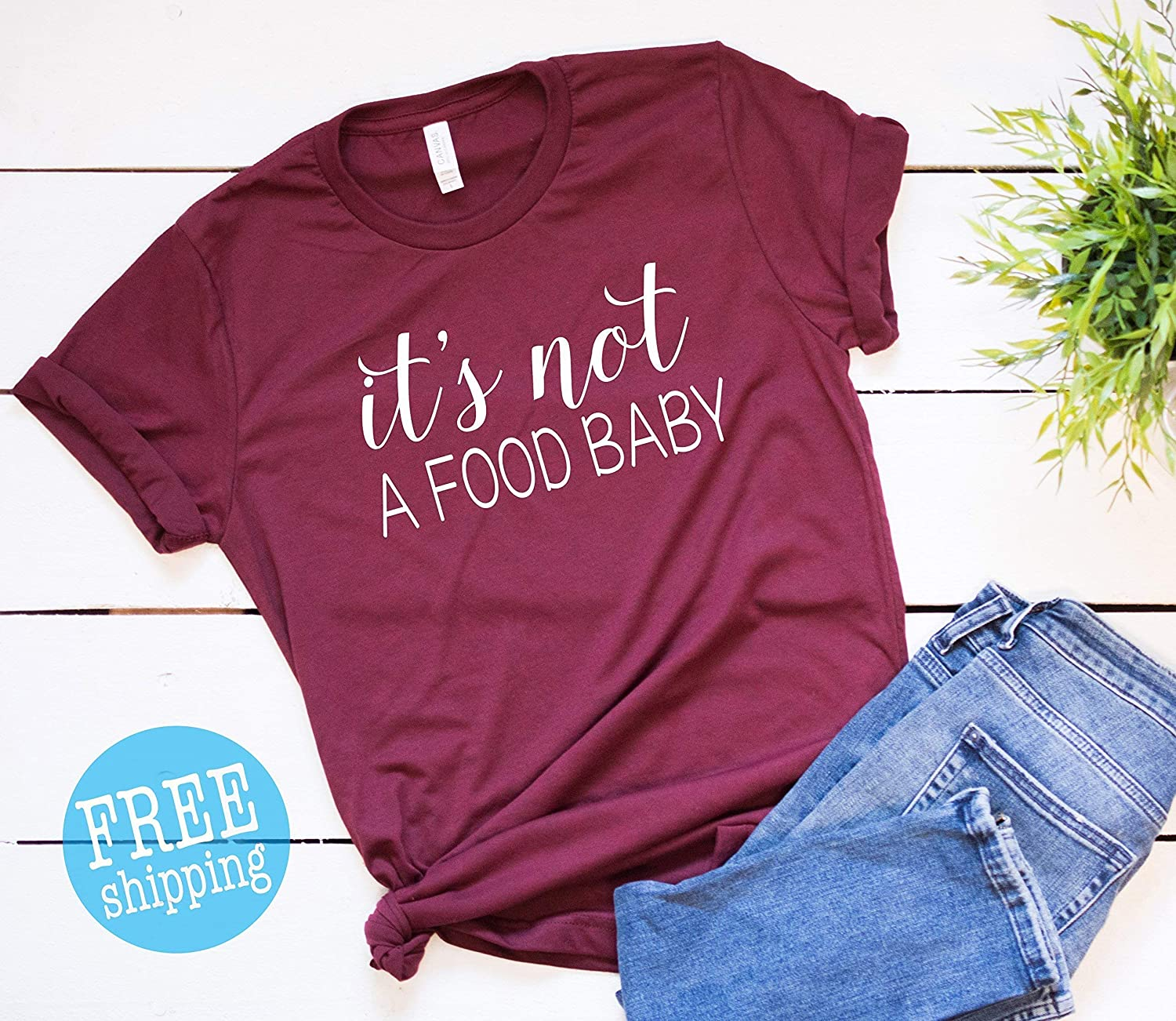 Its Not A Food Baby On Bump Pregnancy Womens 100/% Cotton Crew Neck T-shirt