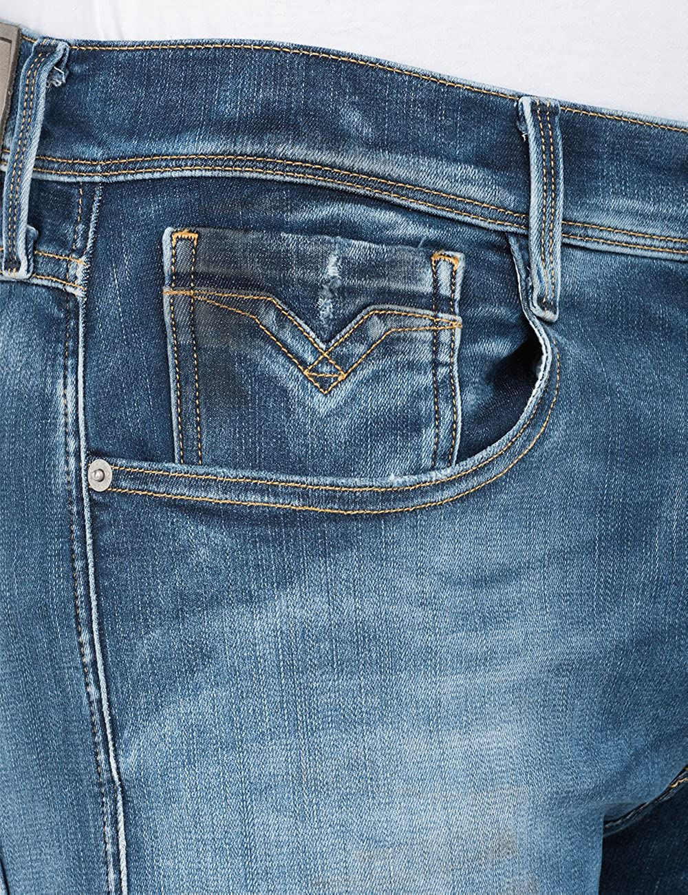 Replay Mens Anbass Hyperflex Jean in Washed Blue
