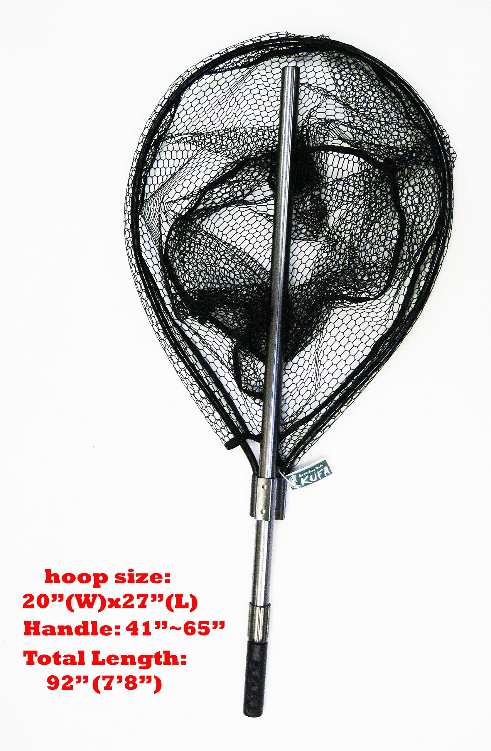 KUFA SPORTS FC7052 Retractable Aluminum Landing Net with Rubberized Mesh, 20 x 27/41-65''/22''