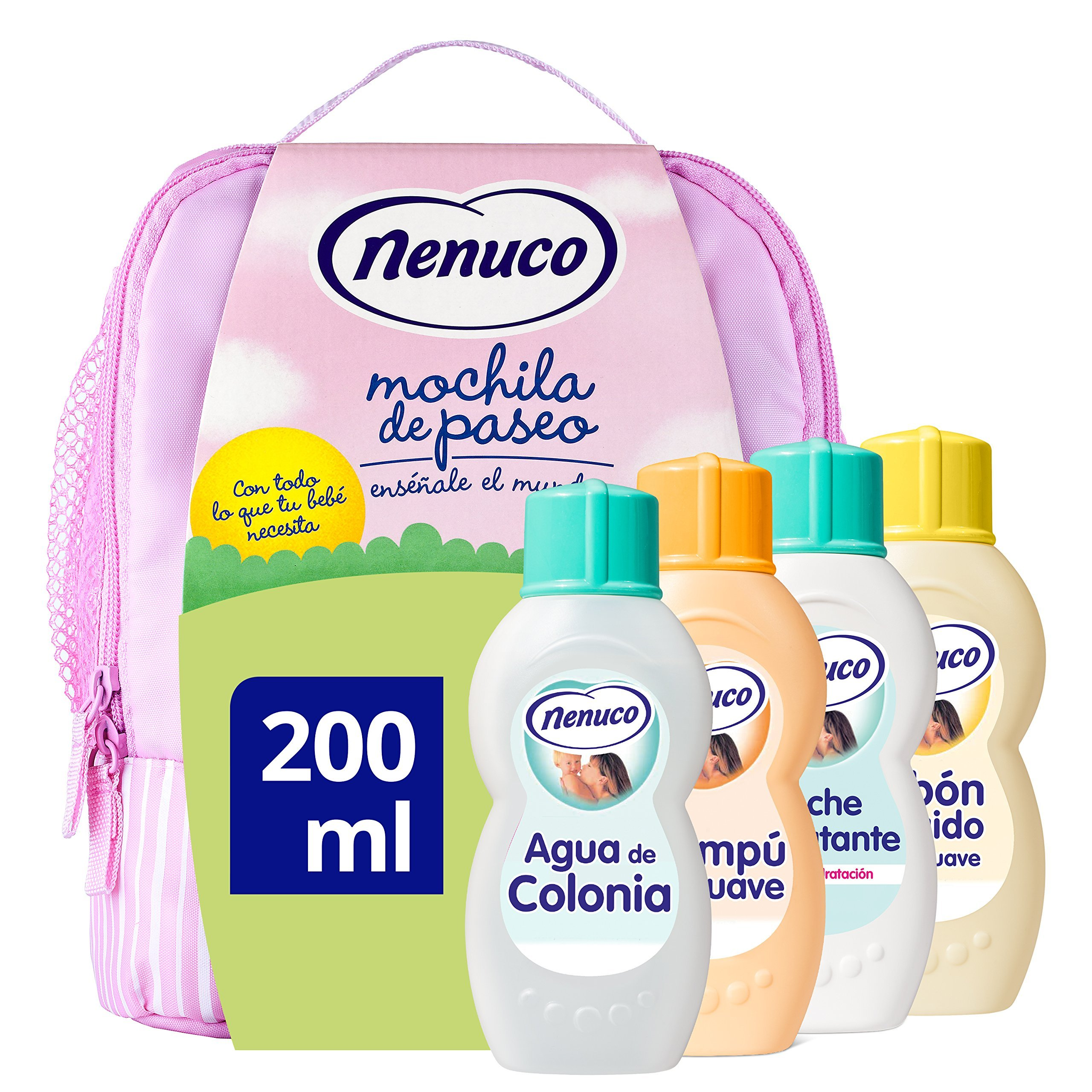 Nenuco Pack Regalo Bebé Mochila de Paseo Rosa 4 x 200ml con Colonia, Jabón,