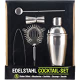 Cocktailshaker Set von Trendario – Premium Cocktailset aus Edelstahl - 5 teiliges Profi Cocktail Mixer Set: Martinishaker + 0,5L Mixer mit Sieb + Messbecher + Barlöffel + Zange