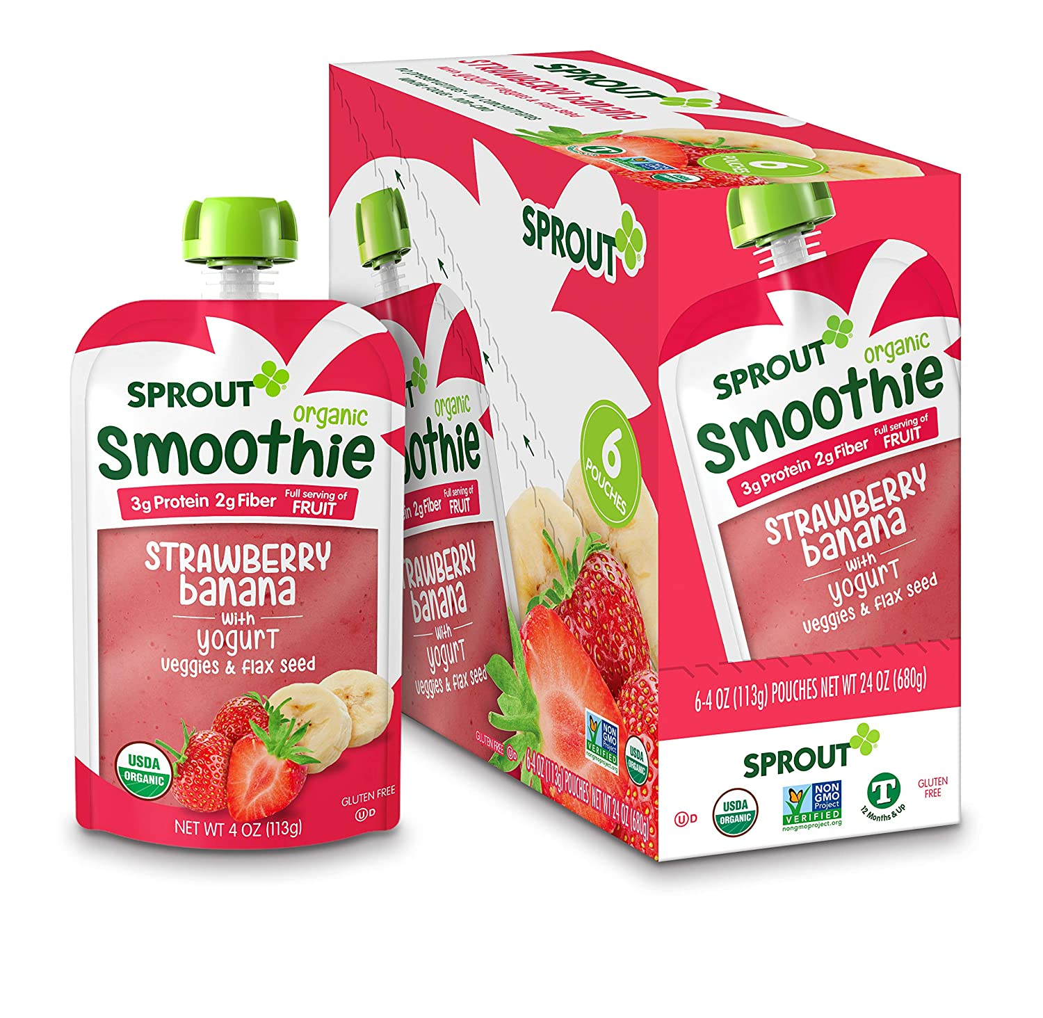 Sprout Organic Baby Food, Stage 4 Toddler Smoothie Pouches, Strawberry Banana & Yogurt, 4 Oz Purees (Pack of 12)