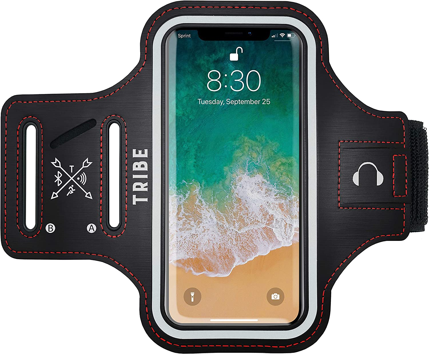 TRIBE Reflective Running Phone Holder Sports Armband. iPhone Cell Phone Arm Band for Women & Men. Runners, Jogging, Exercise, Walking & Gym Workout. Cell Case for iPhones, Galaxy and All Other Phones!