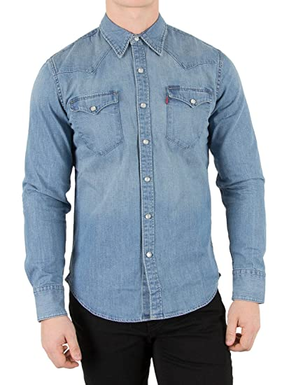 7ce5cea4912 Levi s Men s L S Barstow Western Shirt Plain Slim Fit Jeans shirt ...