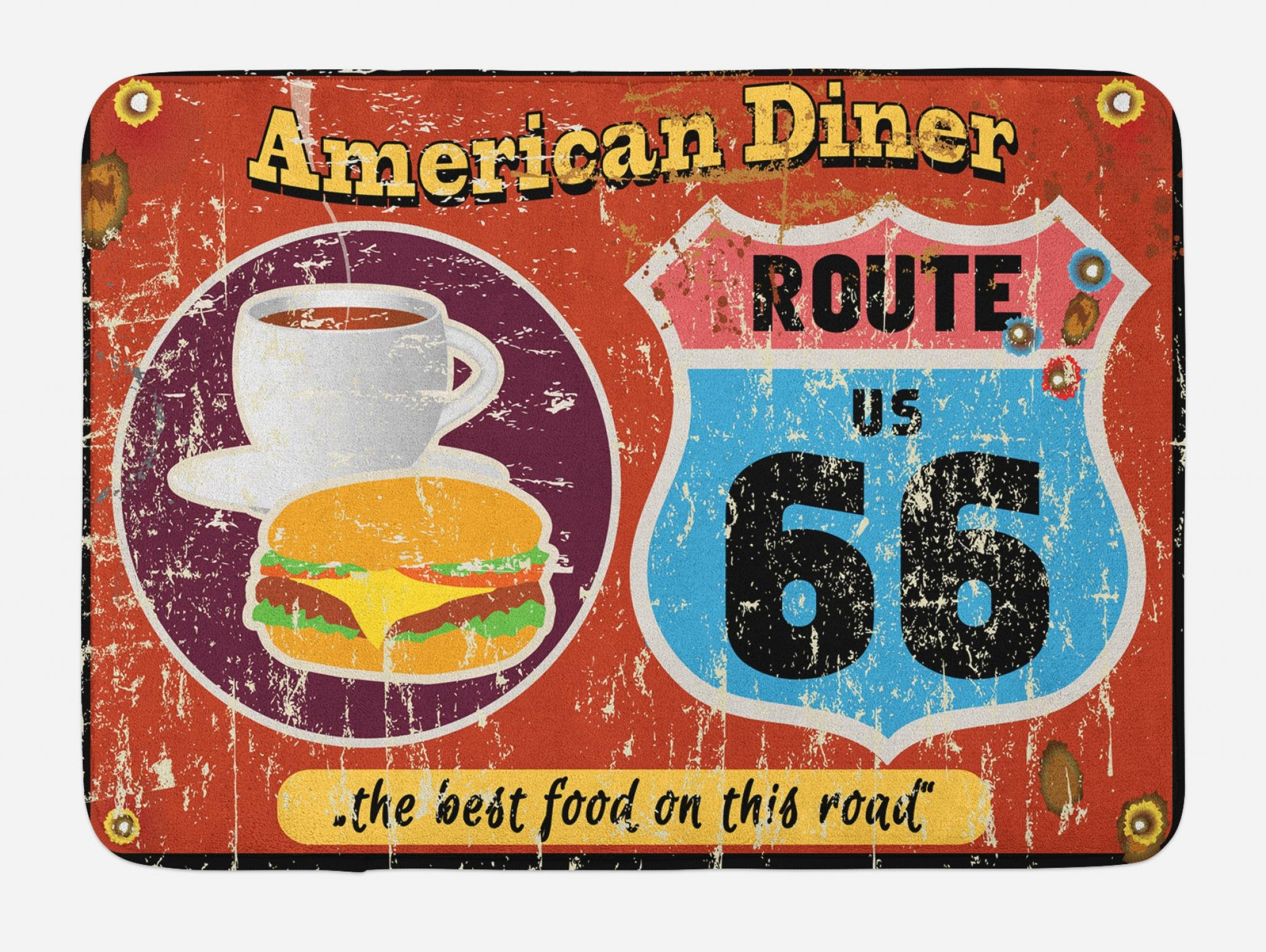 Lunarable Route 66 Bath Mat, American Diner Old Fashioned Sign Main Street of America Journey Famous Adventure, Plush Bathroom Decor Mat with Non Slip Backing, 29.5 W X 17.5 W Inches, Multicolor