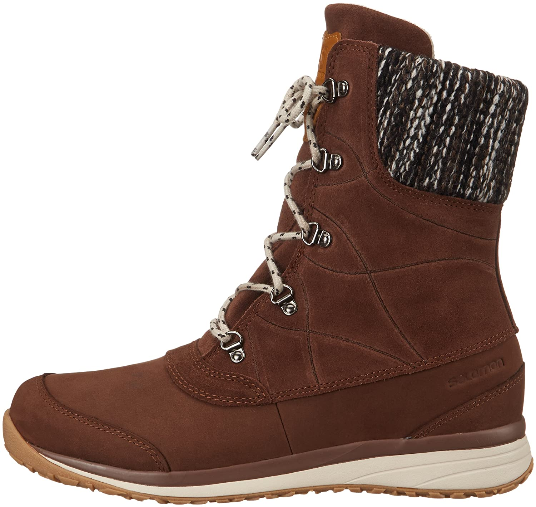 Salomon Women's Hime Mid Leather CSWP Winter Wear Shoe B00PTWMFYI 7 D US|Dark Brown Leather/Black/Light Grey