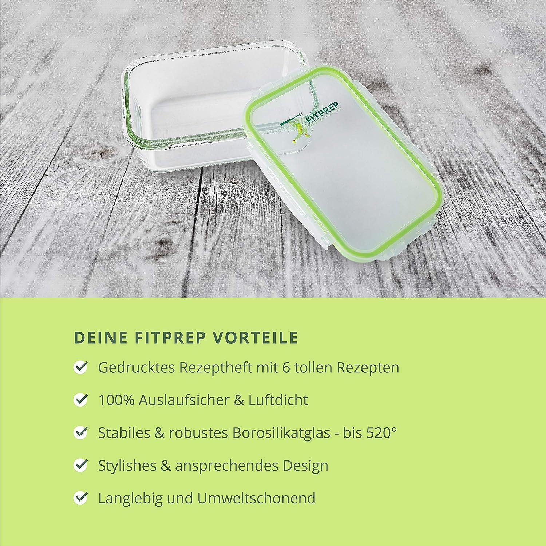 Auslaufsicher Original Premium Glas Frischhaltedosen Set 5 x 840ml FITPREP/® inkl Meal Prep Container Rezeptheft