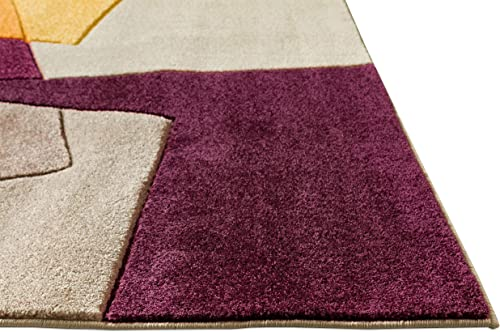 Well Woven Strata Squares Multi Blue Purple Fuchsia Yellow Orange Modern Geometric Hand Carved 2×7 2' x 7' Runner Area Rug Easy to Clean Stain Fade Resistant Thick Soft Plush