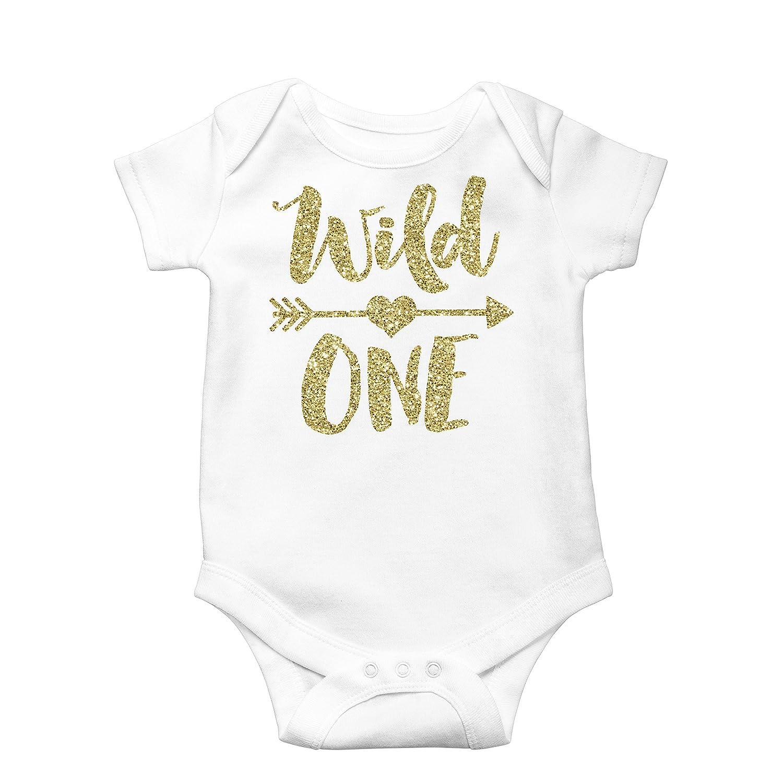 Amazon.com: Wild One Gold Glitter Girls 1st Birthday Bodysuit First  Birthday Outfit Girl: Clothing