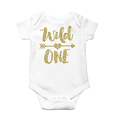 de2aca84e Olive Loves Apple Wild One Gold Glitter Girls 1st Birthday Bodysuit,Gold,6-